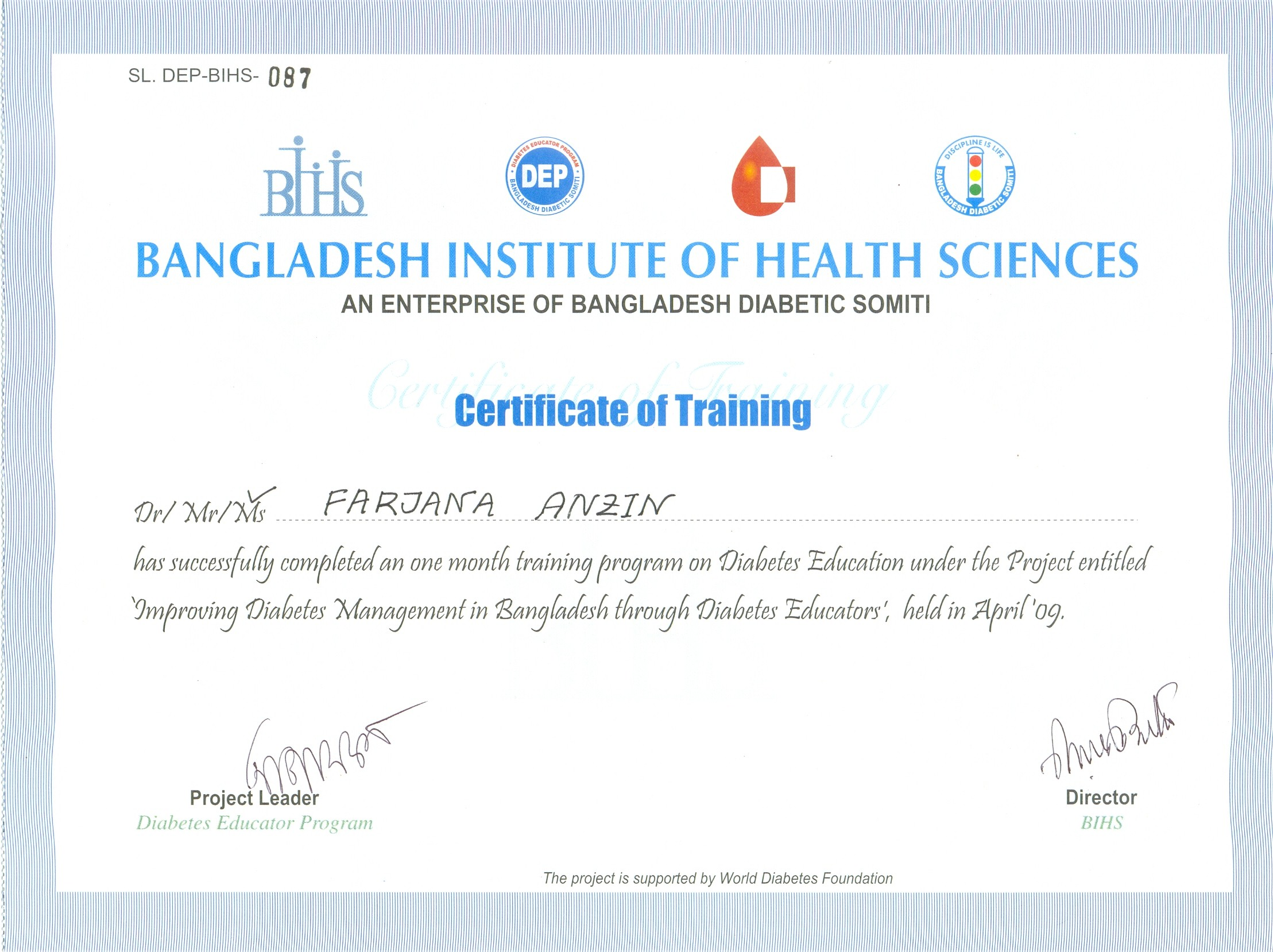 Professional Certifications Farjana Anzin